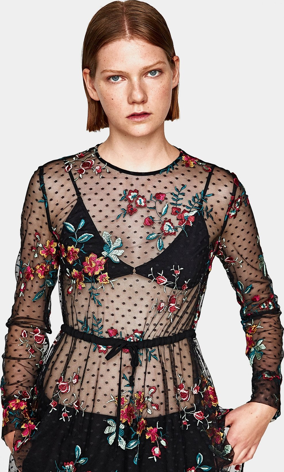 Zara printed and embroidered blouse