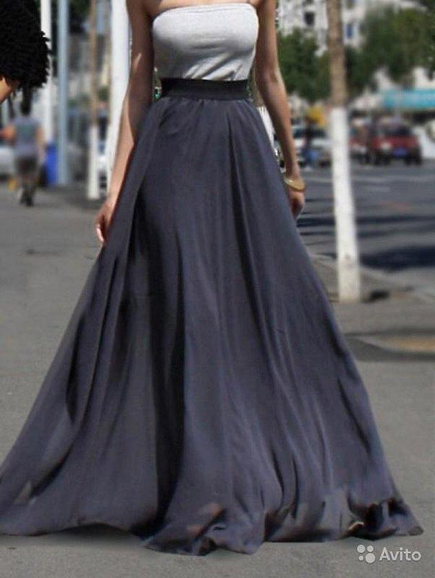 Черная длинная юбка в пол