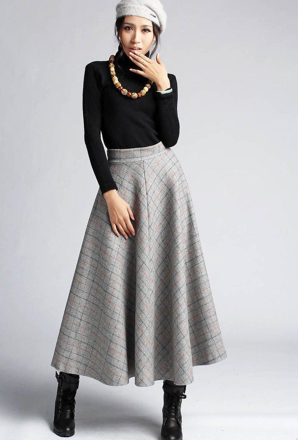 Пышная шерстяная юбка макси
