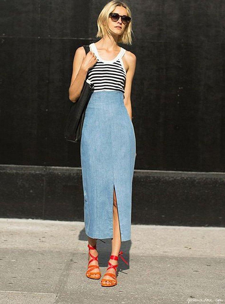Стиль кэжуал длинная джинсовая юбка?