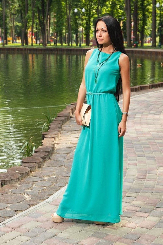 Длинное бирюзовое платье летнее