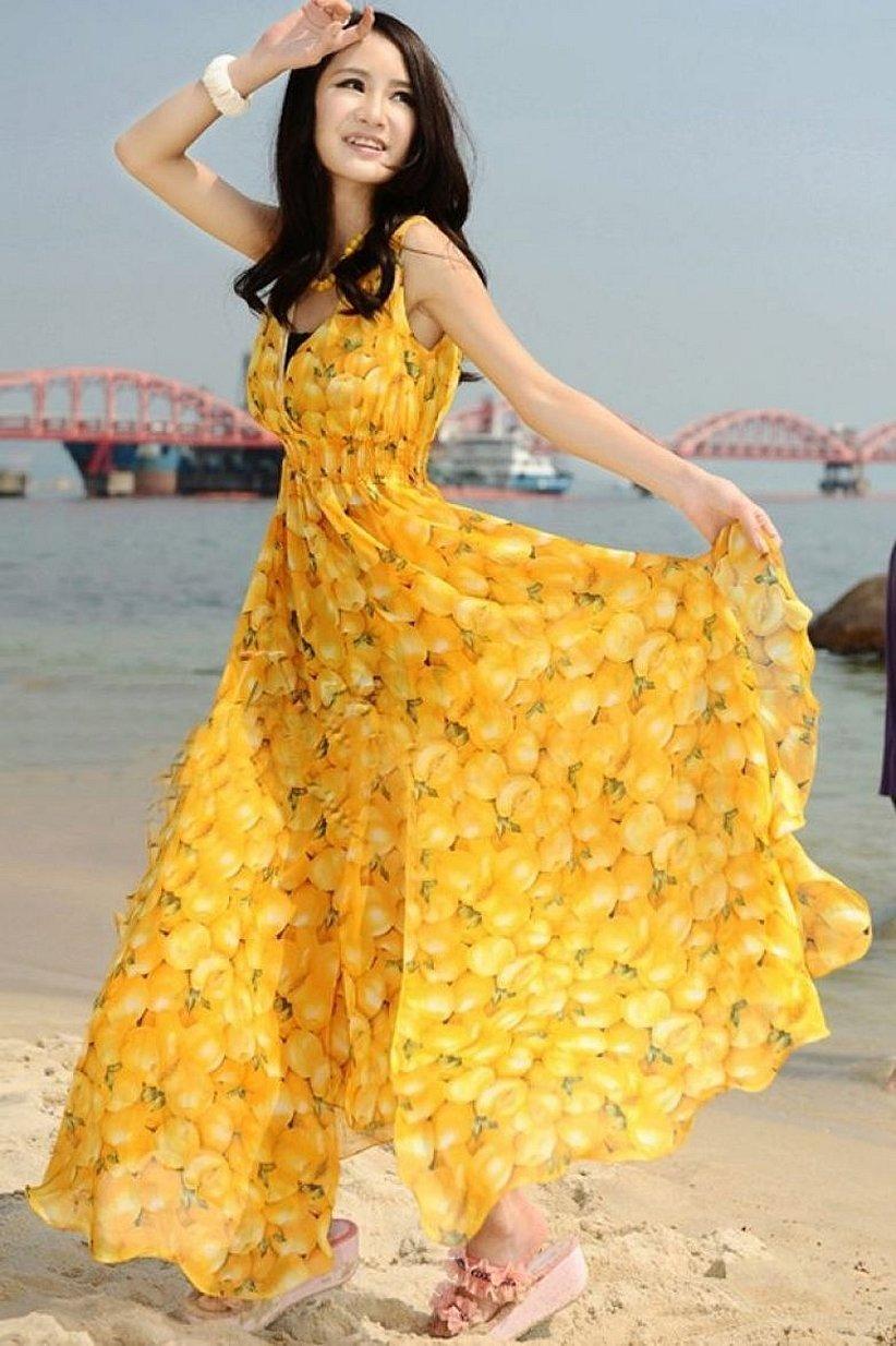 Летние длинные платья из желтого шифона