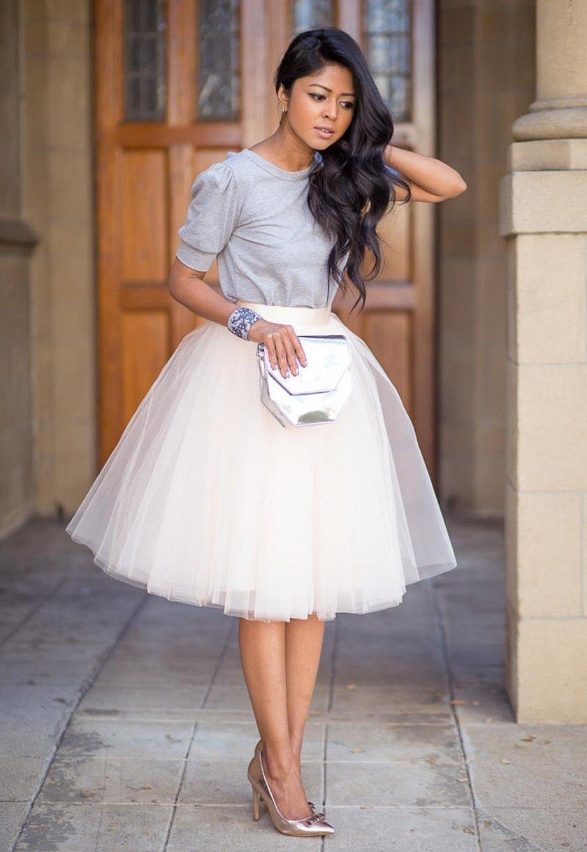 Белая юбка миди из фатина