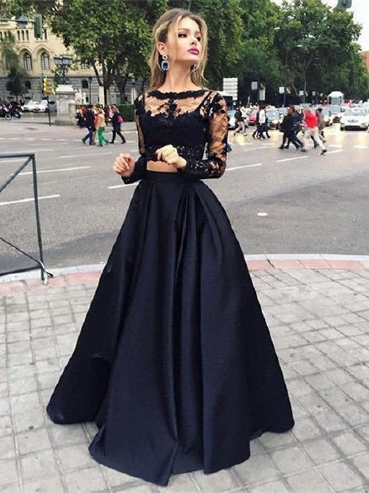 Черное платье в пол топ и юбка