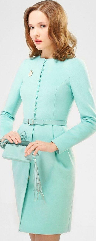Пальто весеннее женское бирюзовое