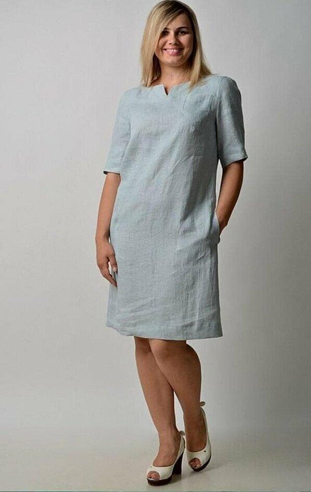 Льняные платья для полных женщин