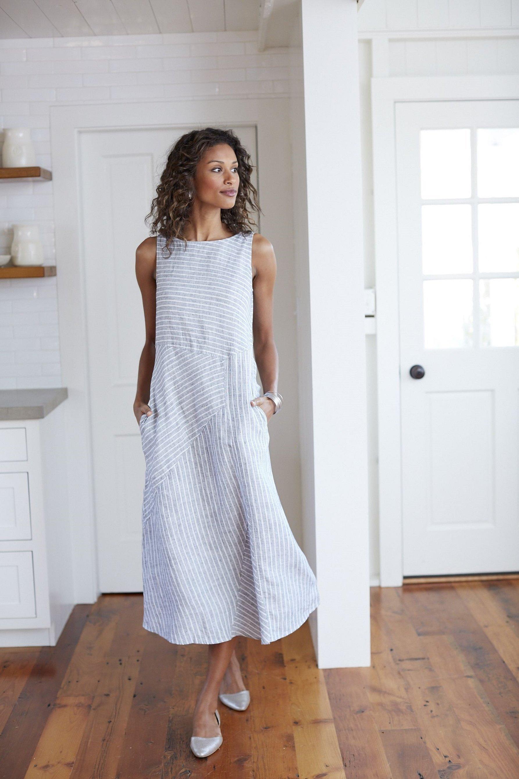 Льняные платья и сарафаны
