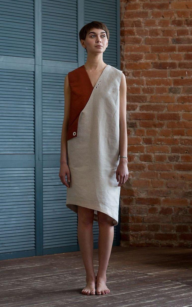 Льняные платья кирпичного цвета