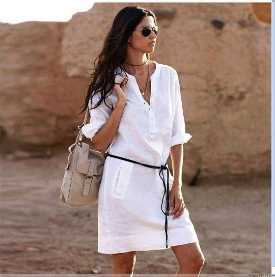 Платье рубашка льняное летнее белое