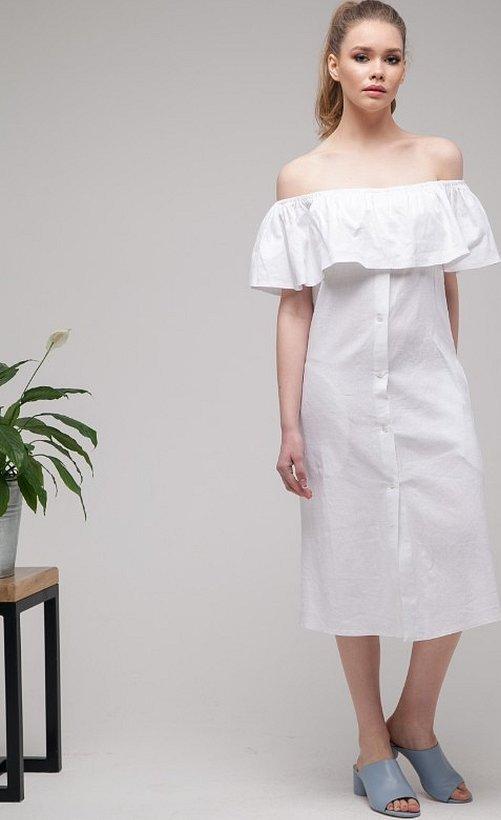 Платье с воланами изо льна