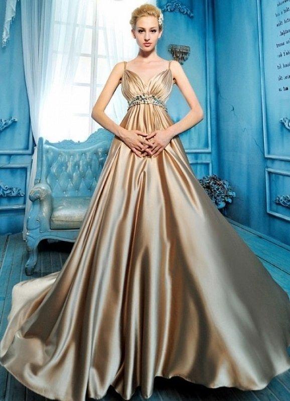 Золотые выпускные платья атлас
