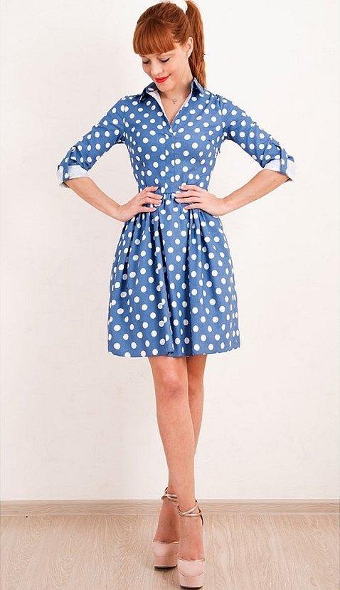 Платье в горошек в стиле ретро