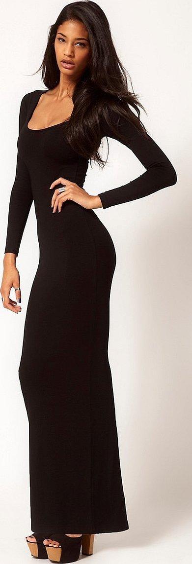 Черные платья облегающие вечерние длинные