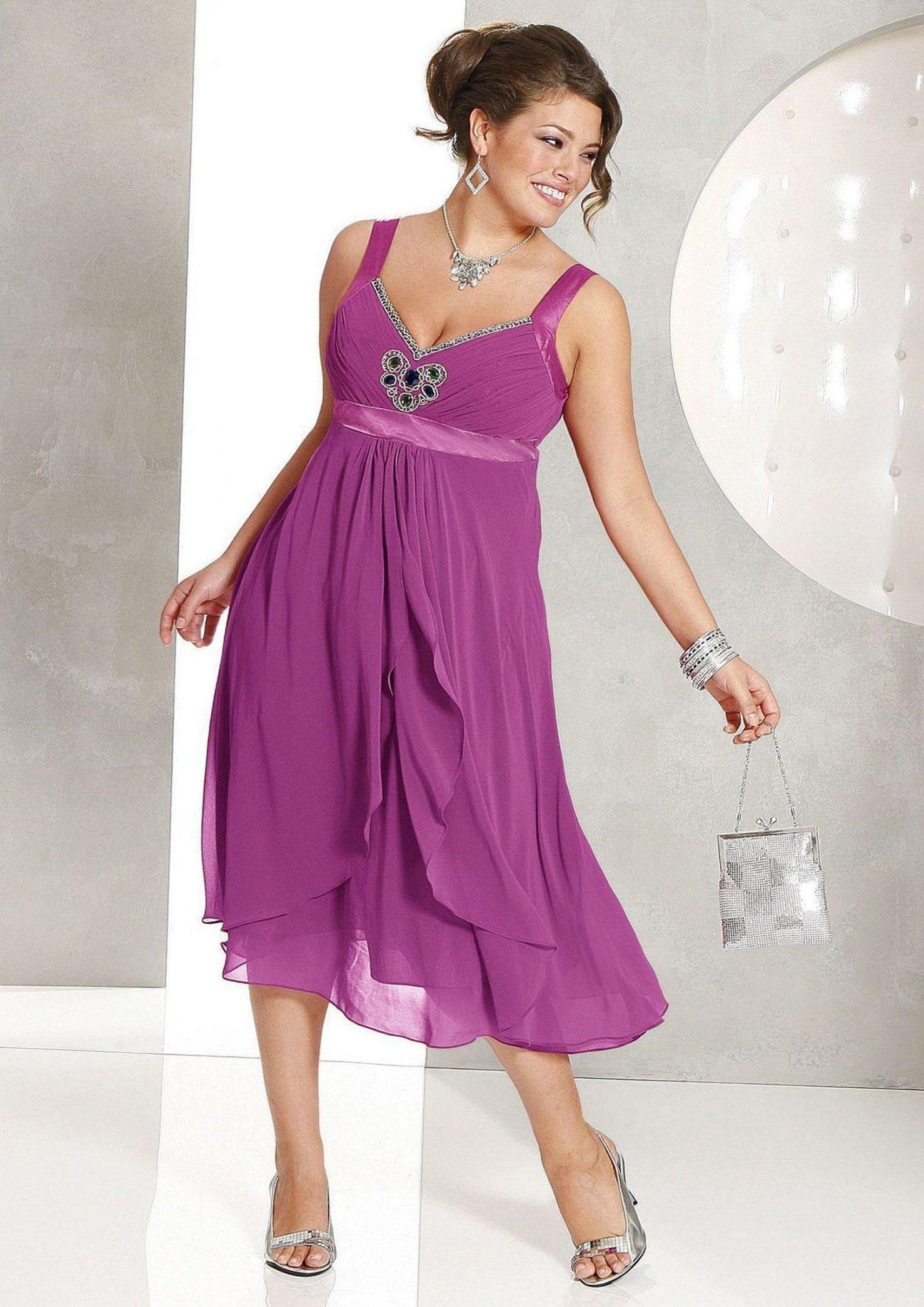 Фиолетовые платья из шифона для полных