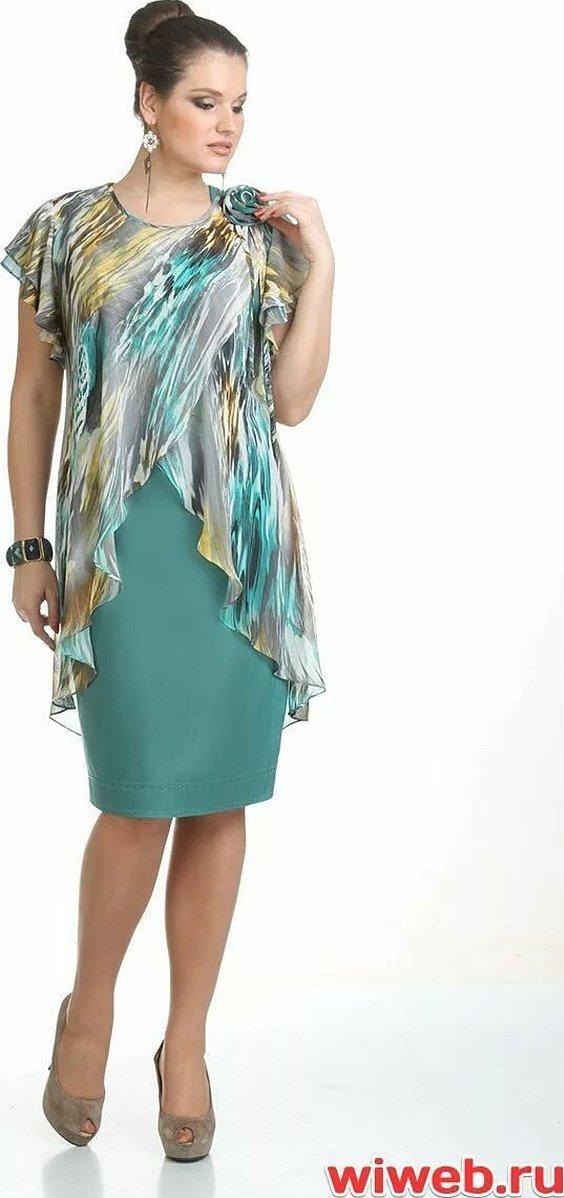 Платье с шифоновой накидкой для полных