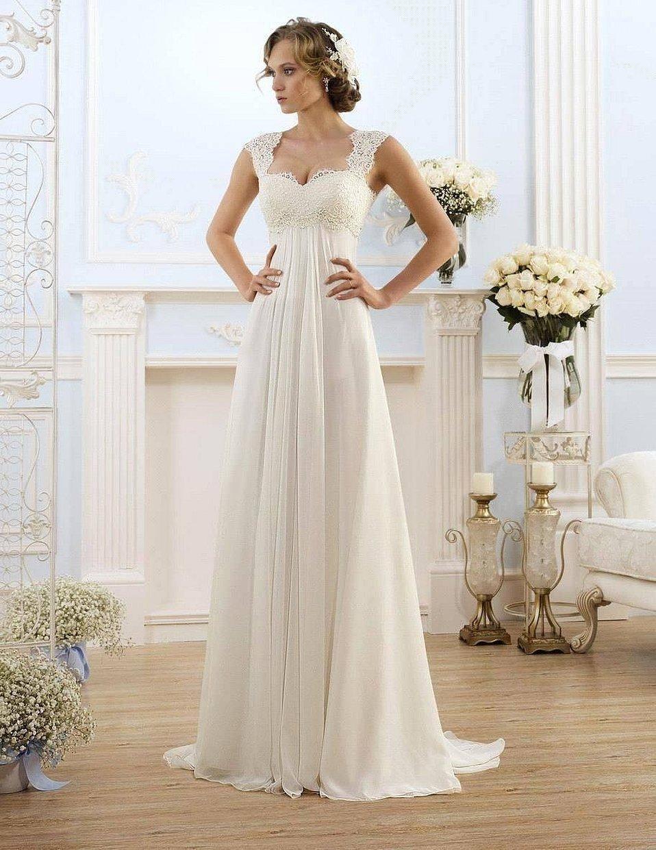 Прямые свадебные платья в греческом стиле