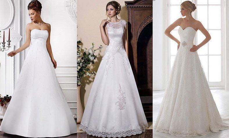 Свадебные платья классика а силуэт