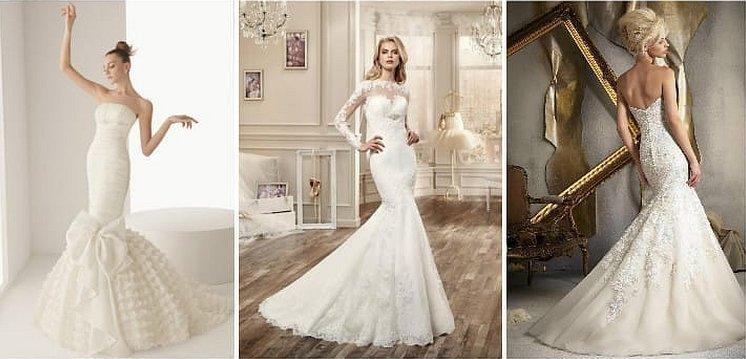 Свадебные платья рыбки с атласным шлейфом отдельным