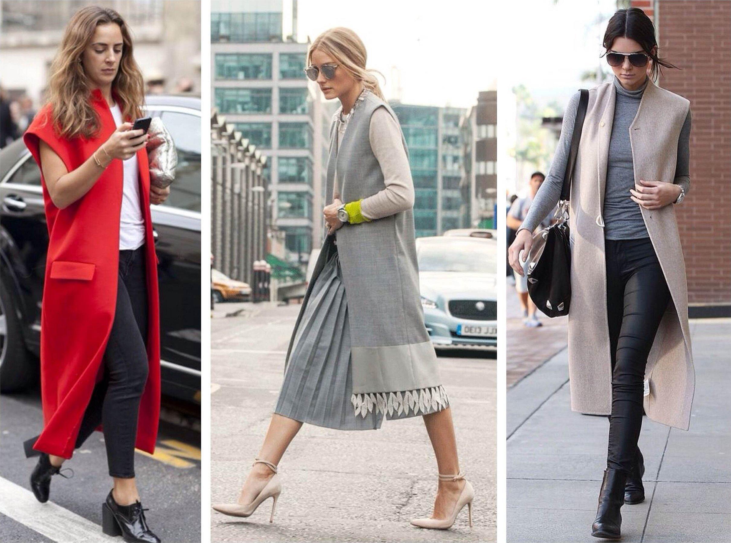 Женский длинный жилет с чем носить