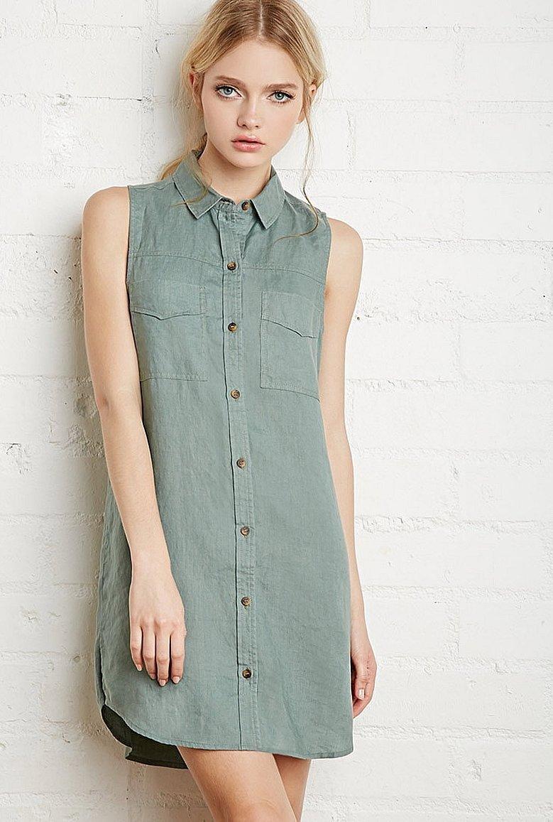 Джинсовое платье рубашка без рукавов