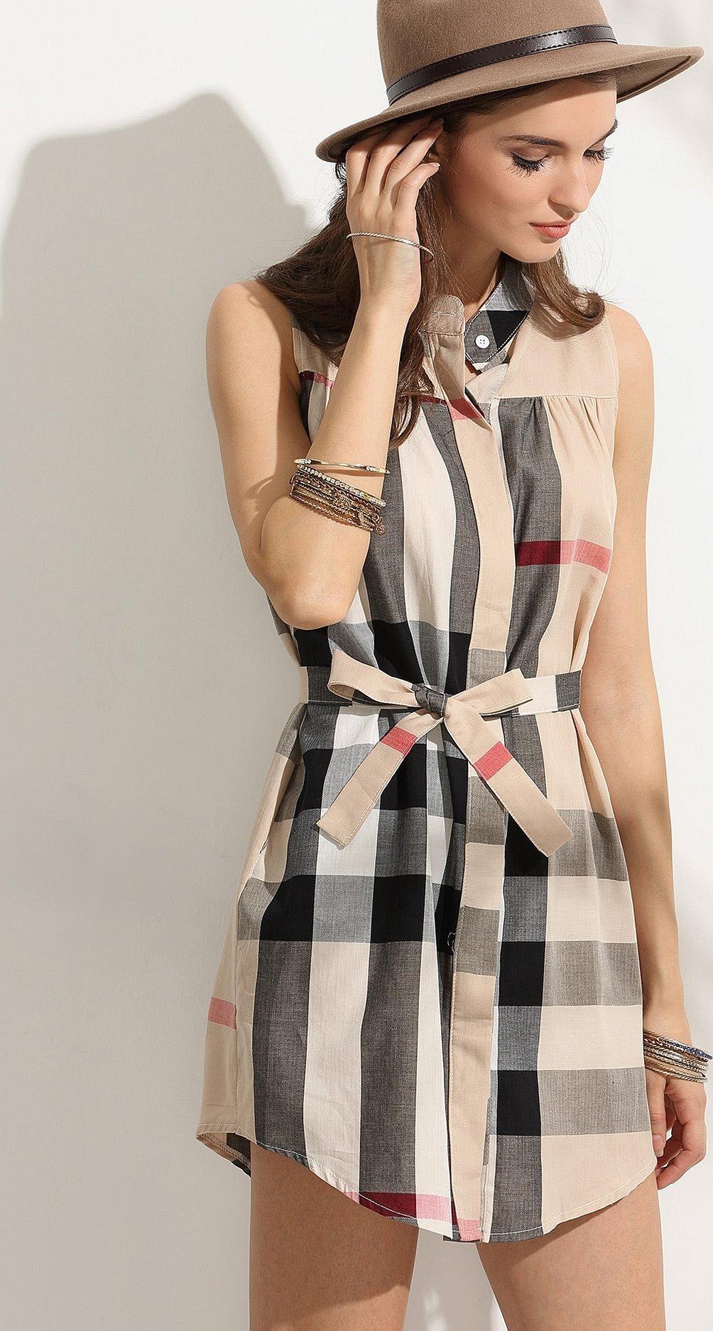 Клетчатое платье рубашка с поясом