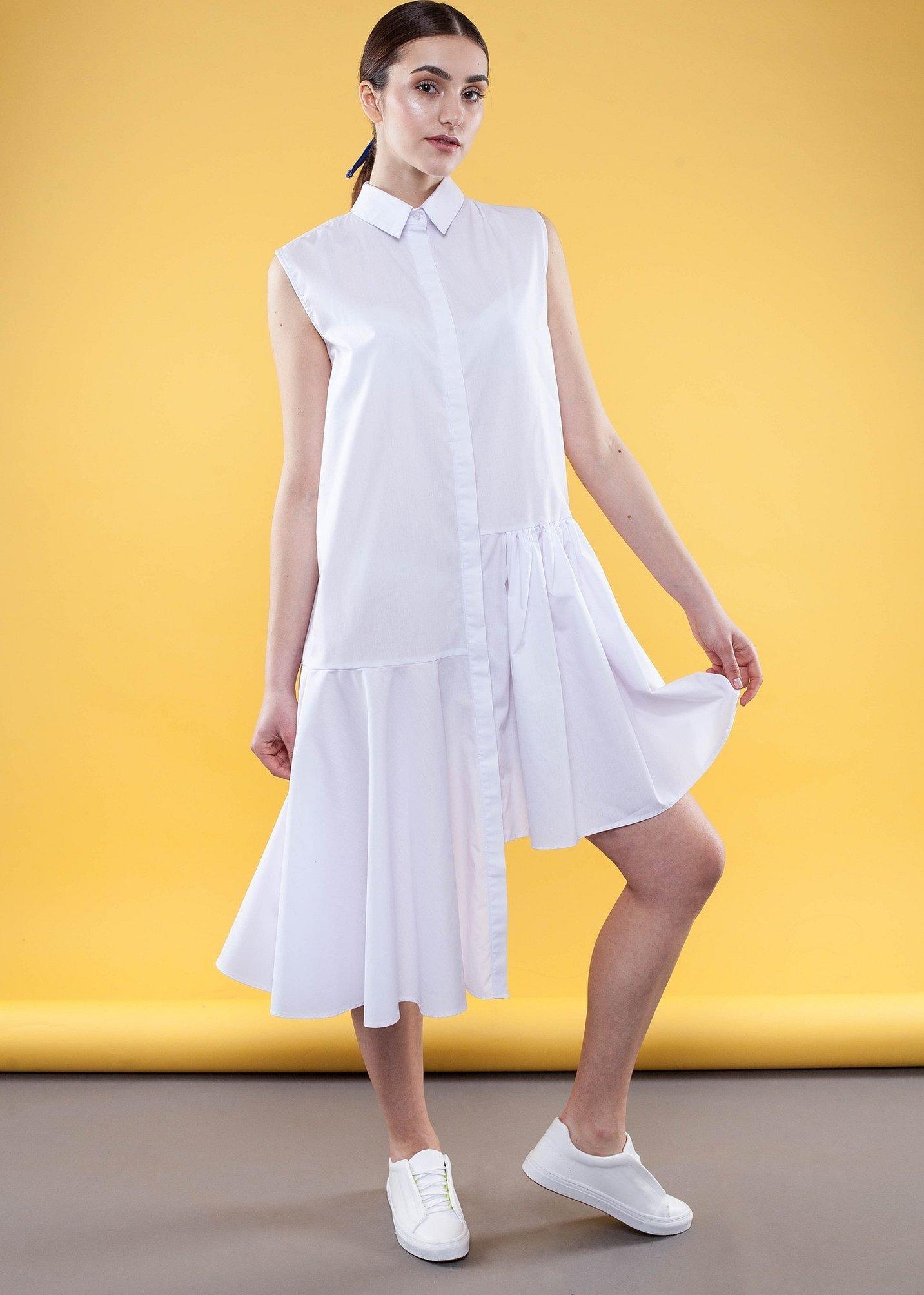 Платье рубашка с воланом внизу