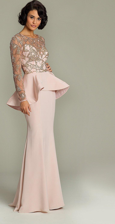 Элегантные вечерние платья для девушек с длинным рукавом