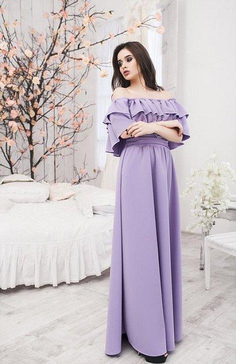 Лиловое платье длинное с открытыми плечами