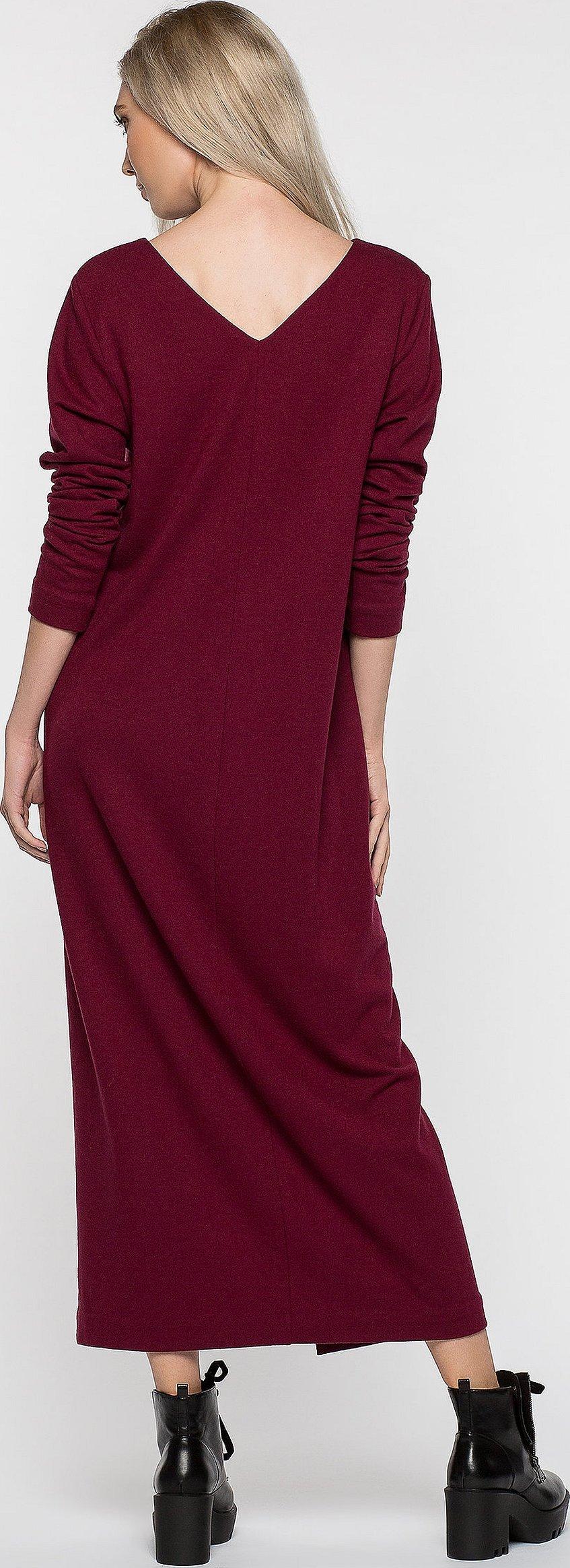 Бордовое прямое миди платье