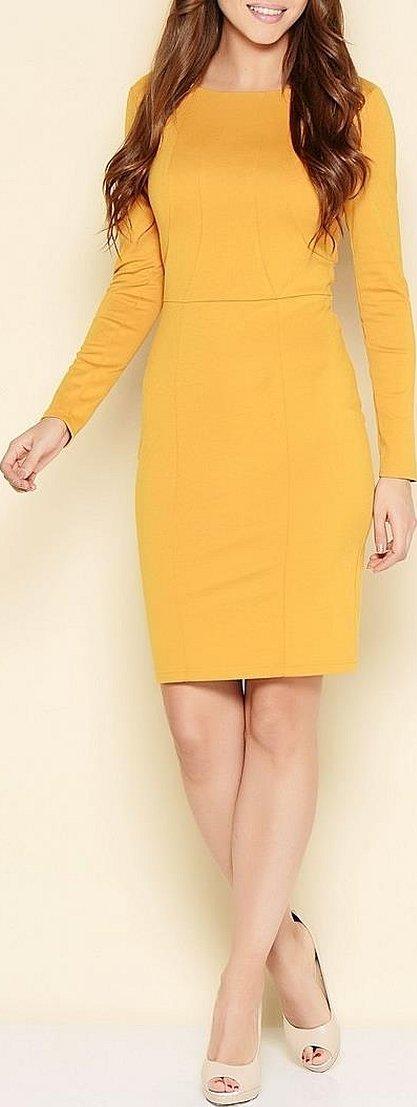 Коктейльное платье горчичного цвета