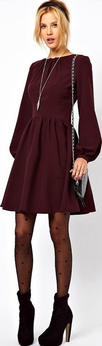 Красивые платья бордовые с рукавами