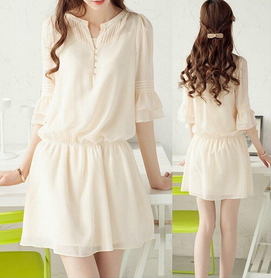 Корейская шифоновая летняя платье короткая