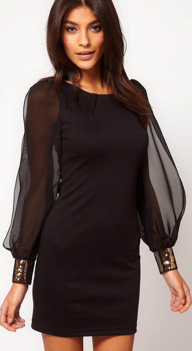 Короткое трикотажное платье с шифоновыми рукавами