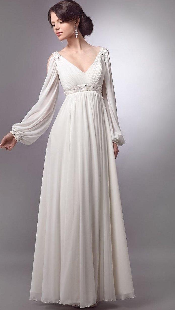 Свадебное платье в греческом стиле с рукавами
