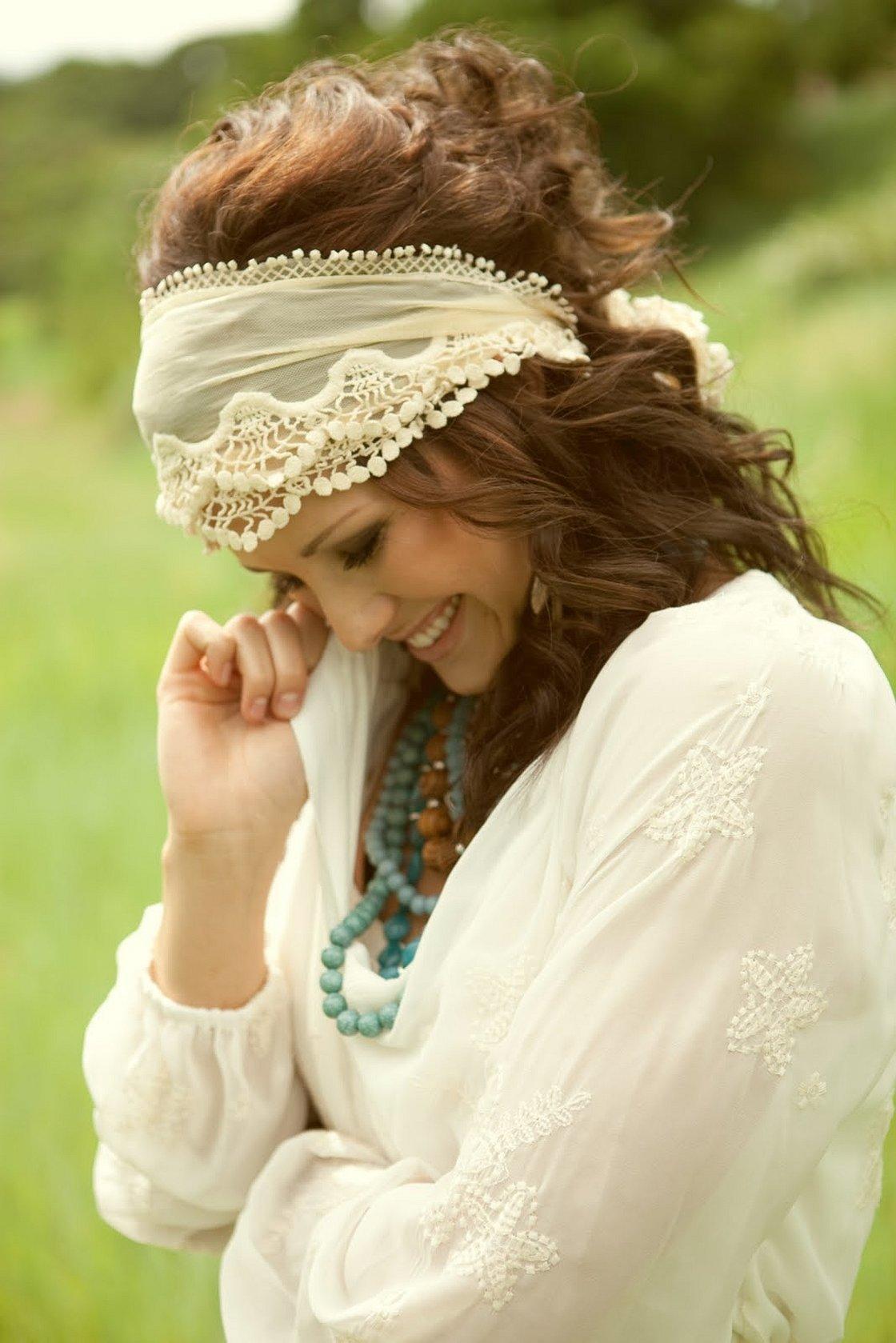 Свадебная повязка на голову в стиле бохо