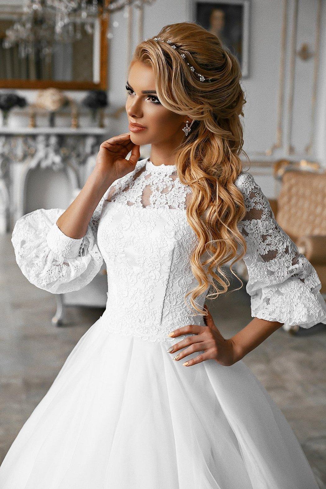 Свадебное платье с рукавами фонариками