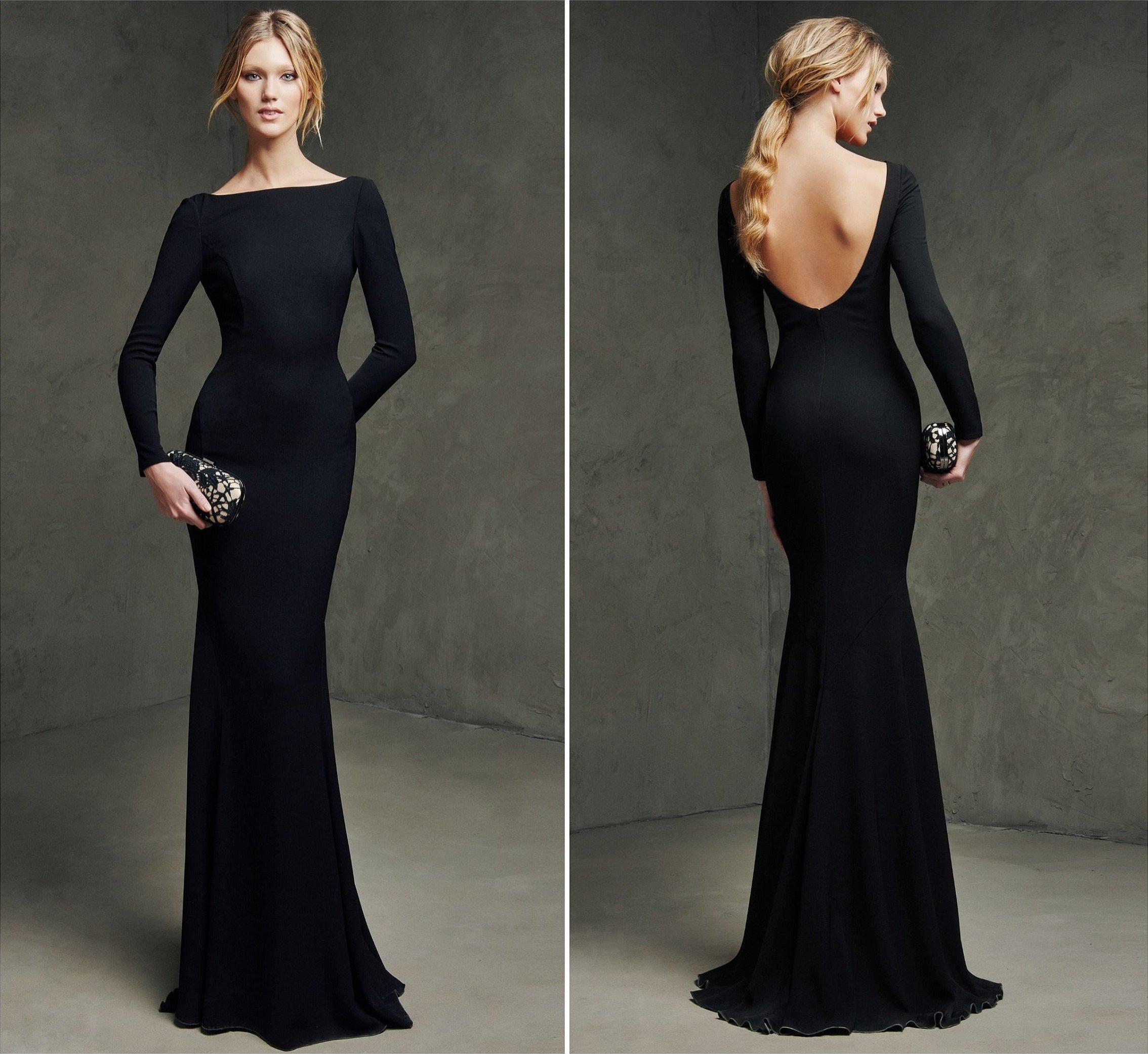 Вечернее платье черное длинное рыбка