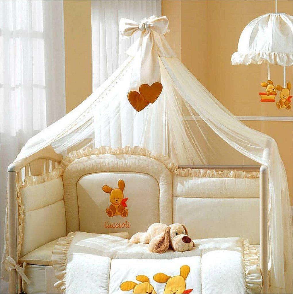 Комплект в кроватку с балдахином бежевый