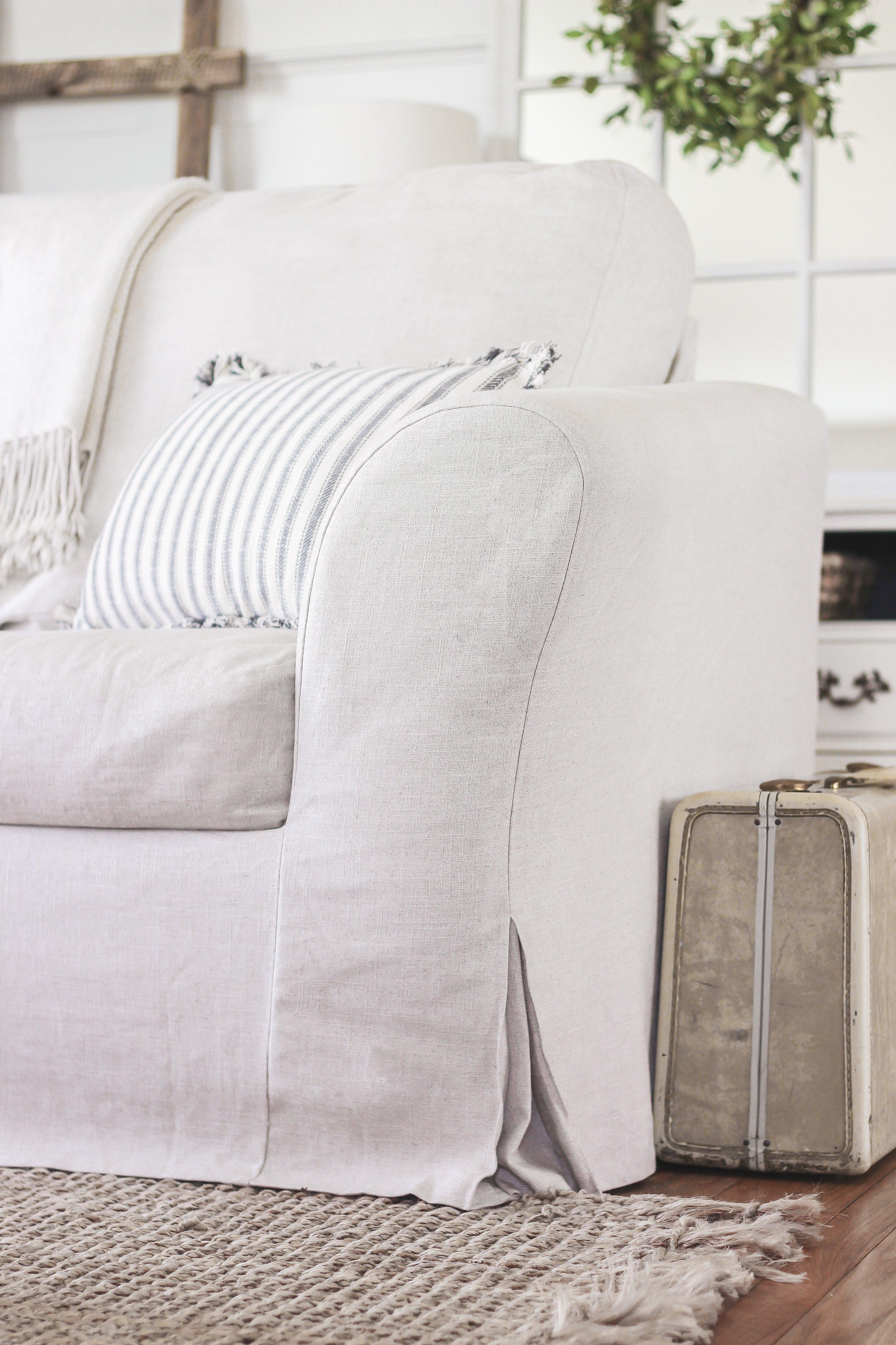 Холщёвыми чехлами для дивана