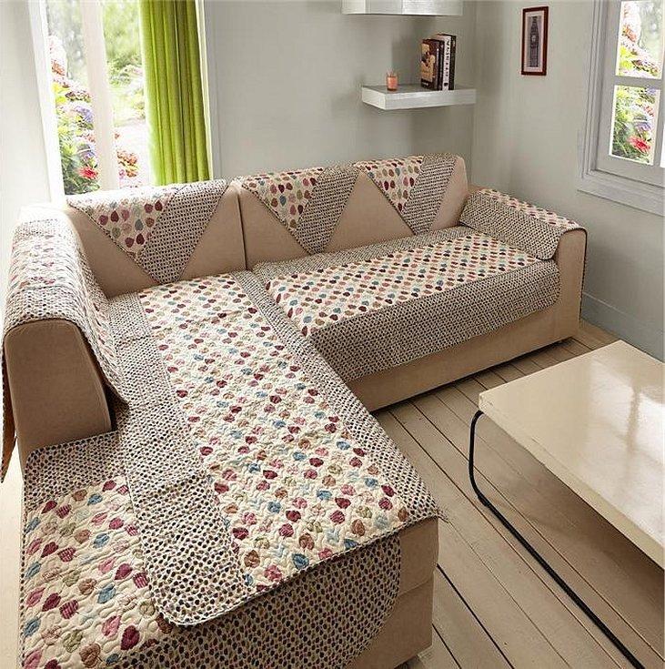 Покрывало на угловой диван с подушками
