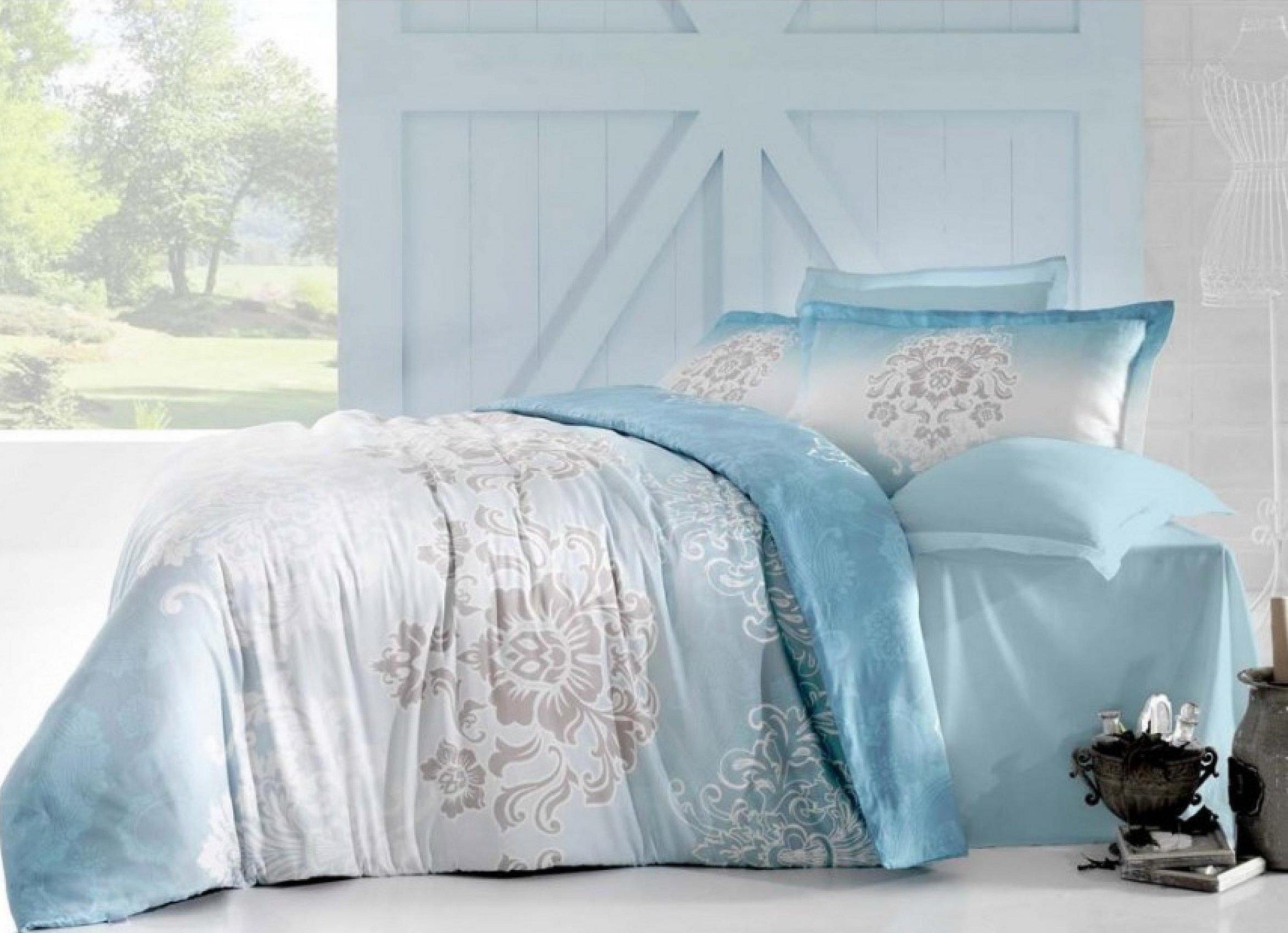 Комплект постельного белья голубой сатин