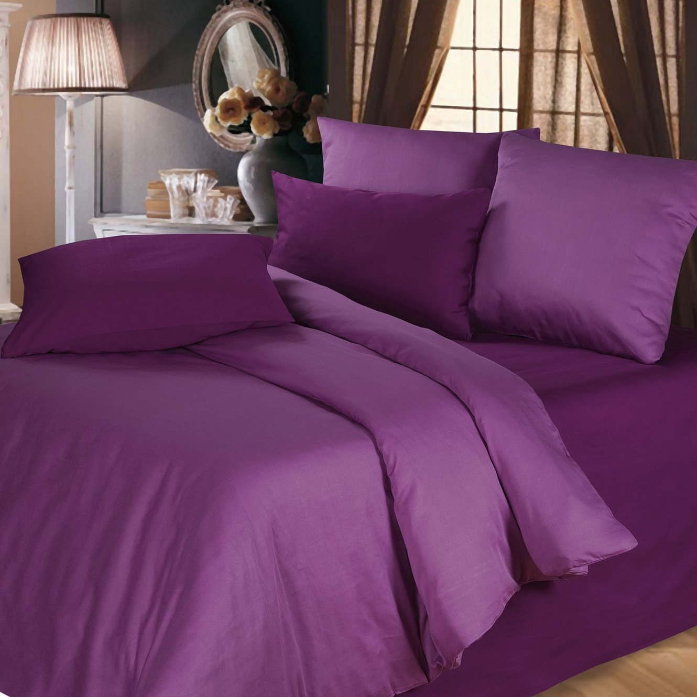 Комплект постельного белья перкаль ежевичный смузи