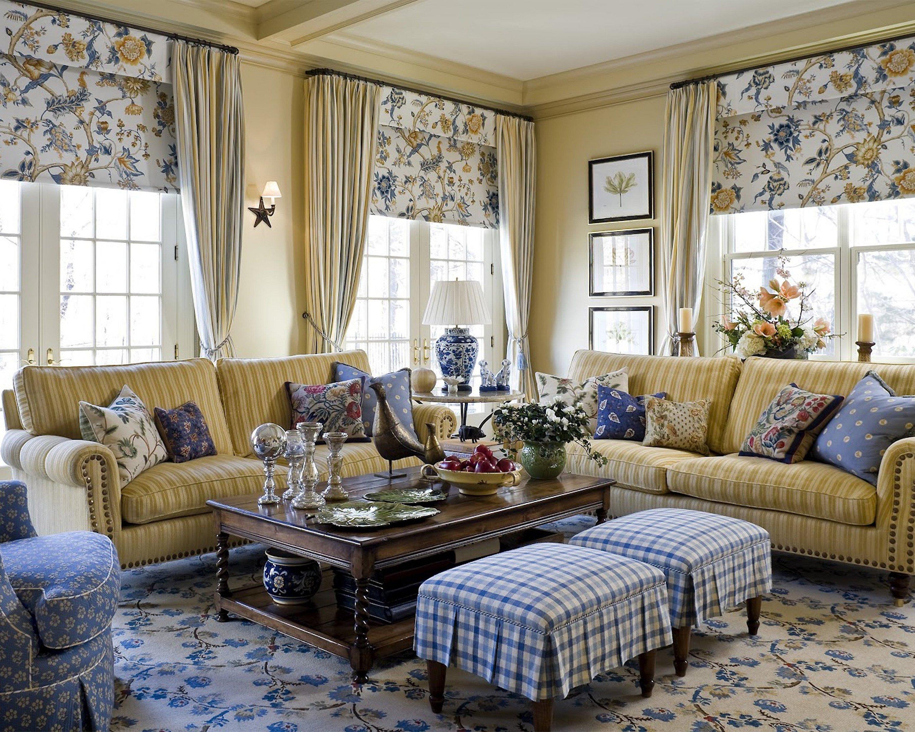 Шторы в гостиной стиль кантри и прованс