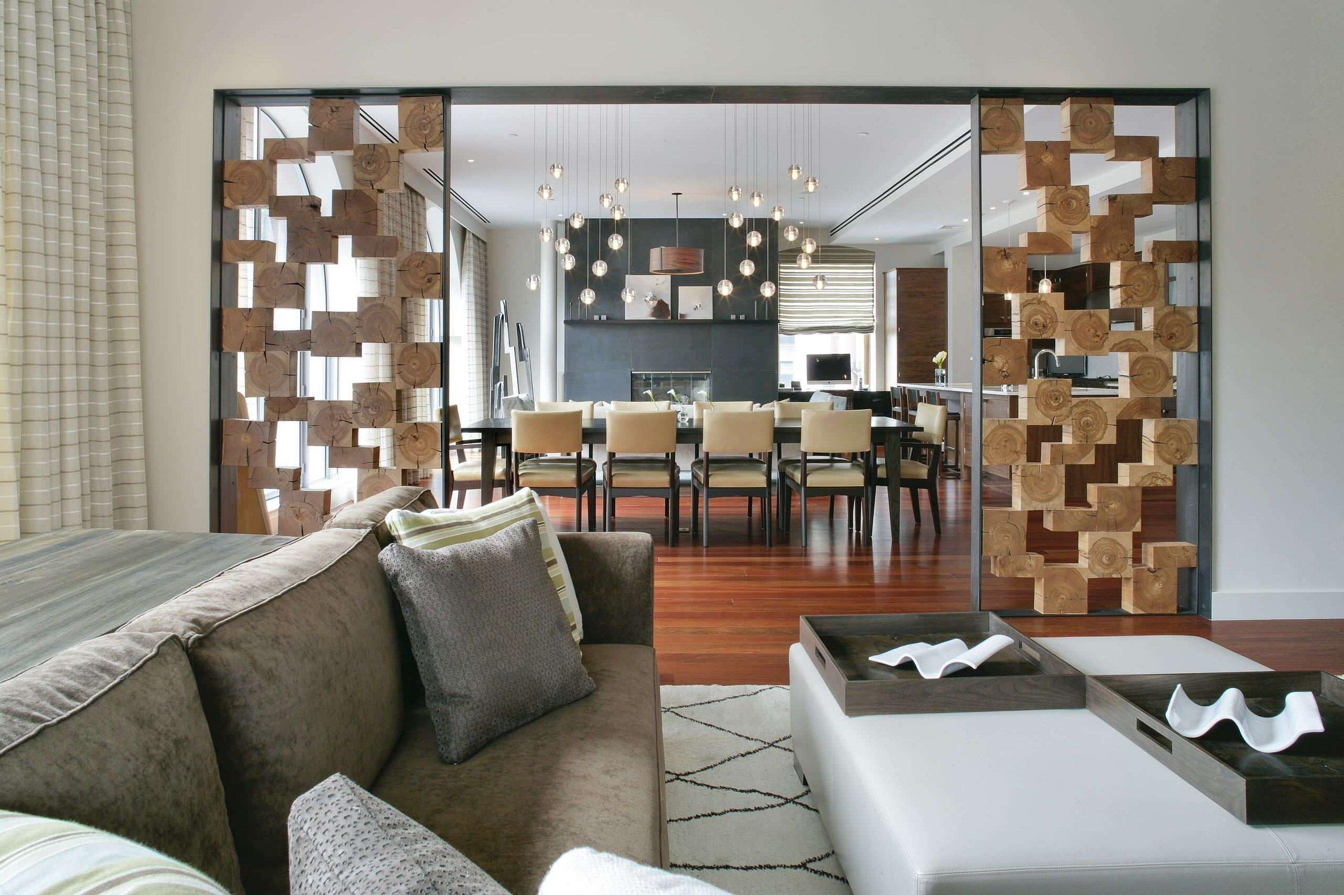 Перегородки для зонирования пространства в гостиной