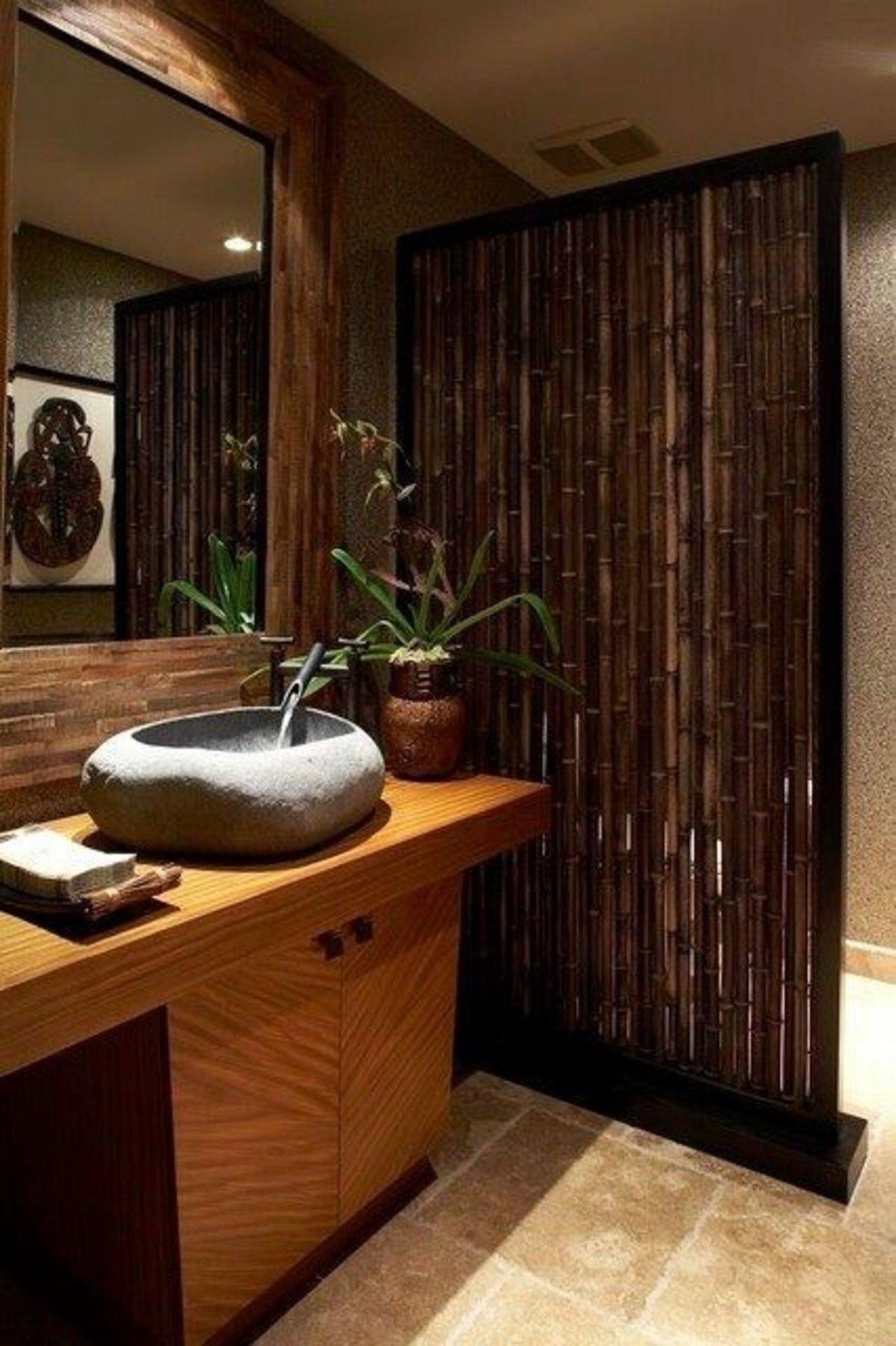 Ванная в азиатском стиле бамбук