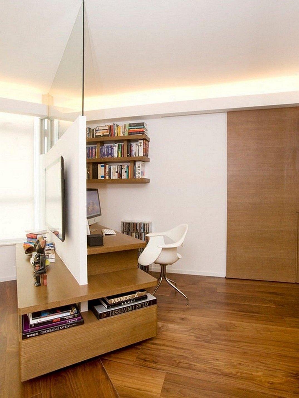 Зонирование комнаты перегородкой минимализм