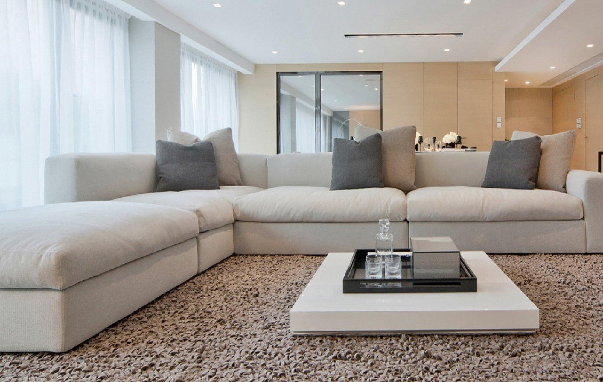 Ковры для гостиной в современном стиле с диваном