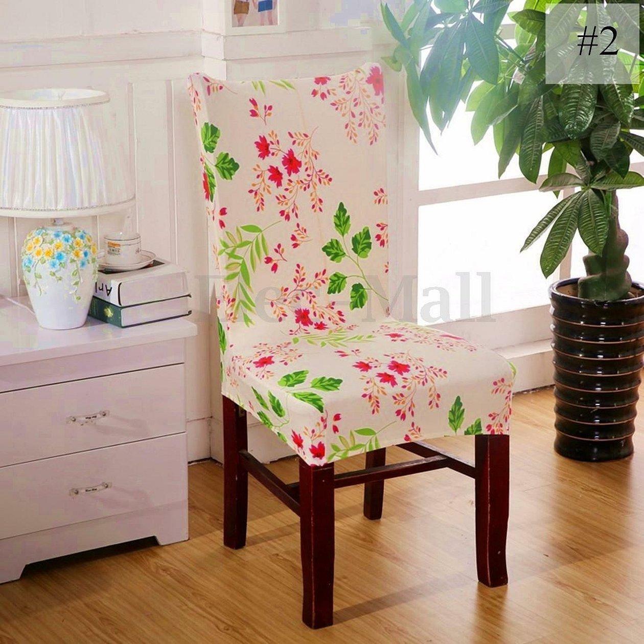 Стрейч чехлы на стулья с декором
