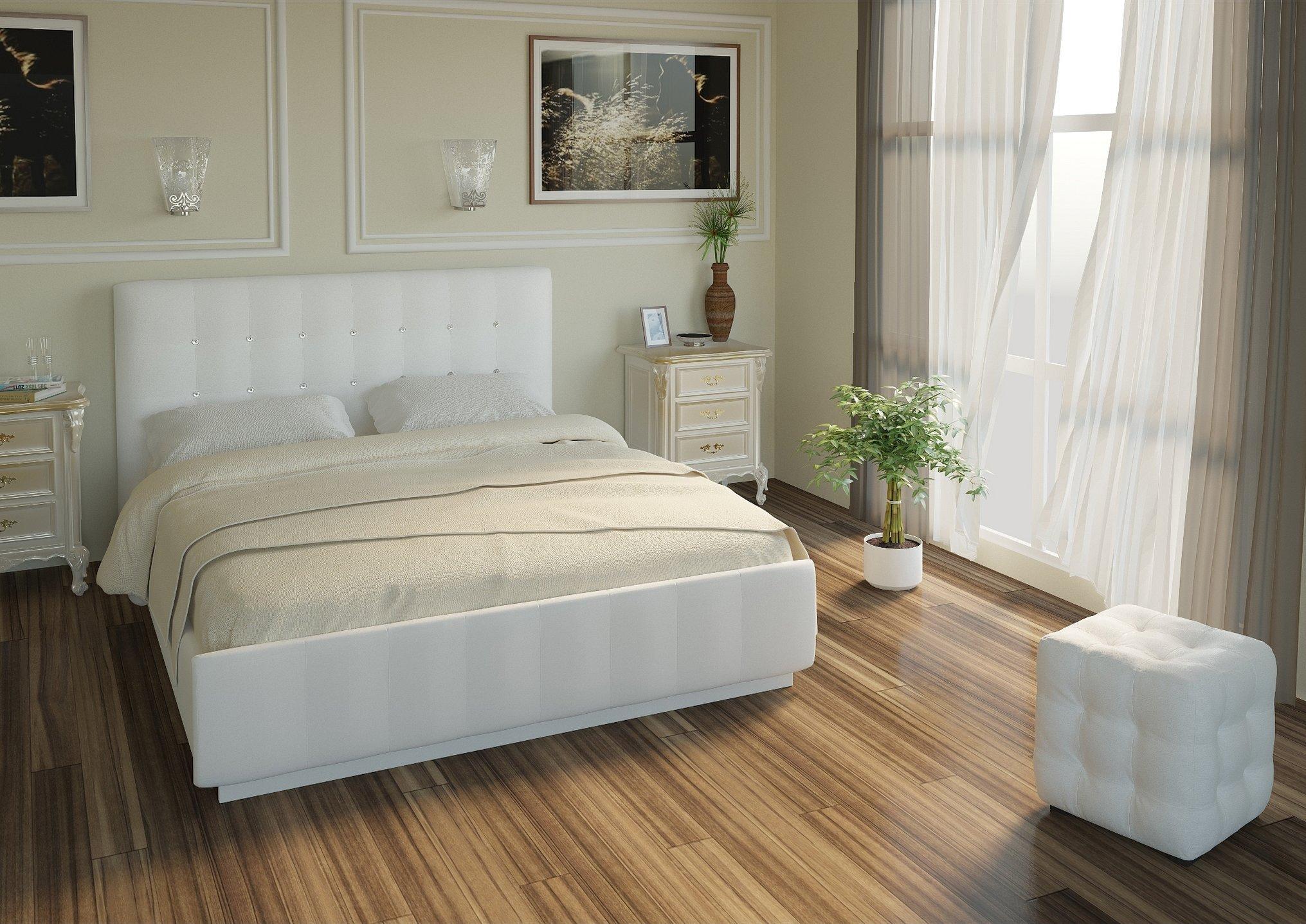 Кровать двуспальная белая экокожа