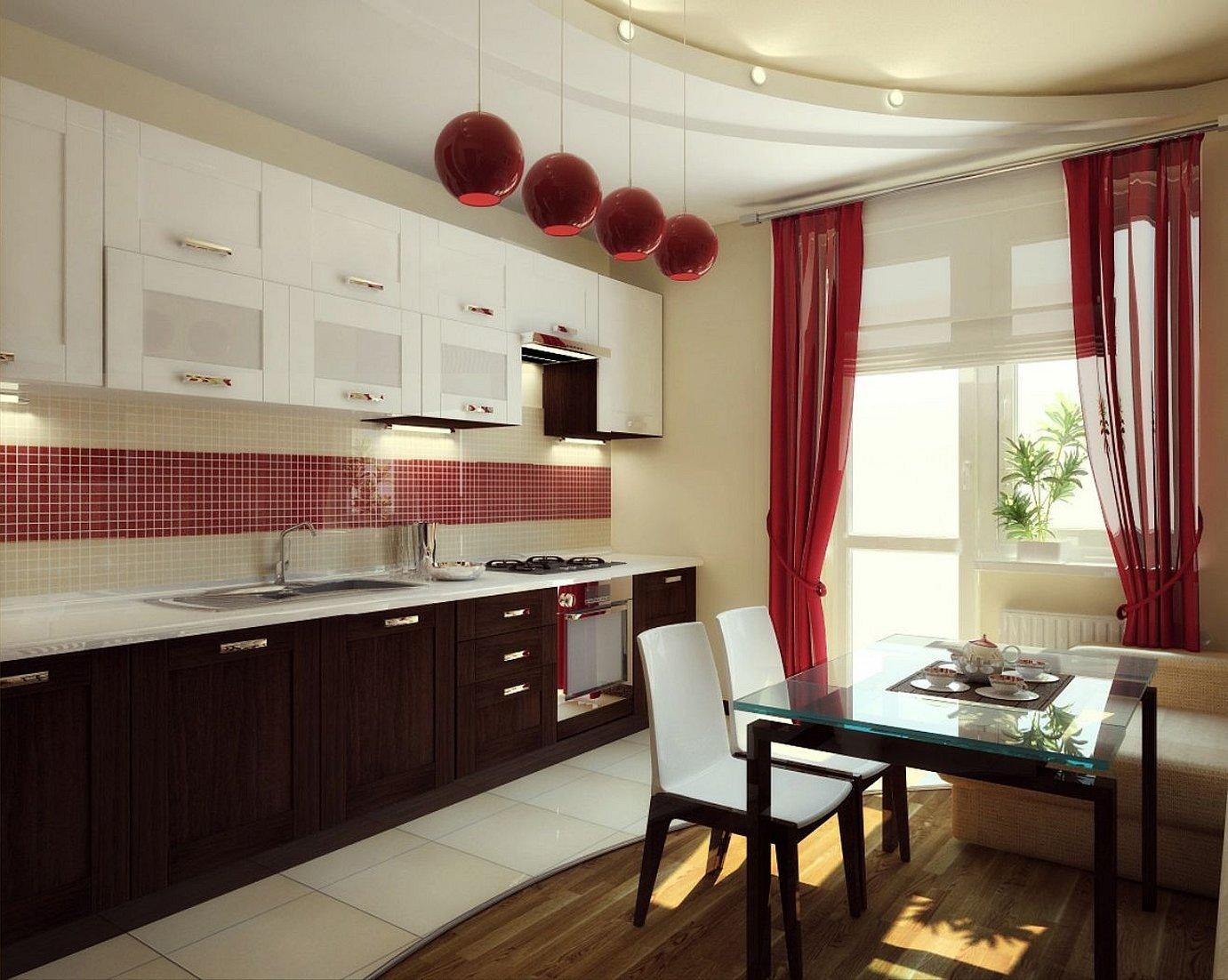 Бордовая кухня в интерьере какие шторы подойдут